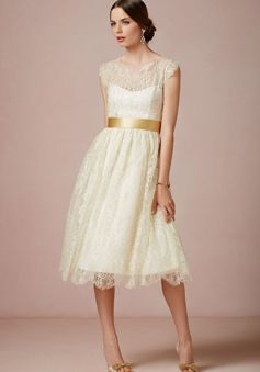 Destination Lace A line Queen Anne Tea Length Cap Sleeves Wedding ...
