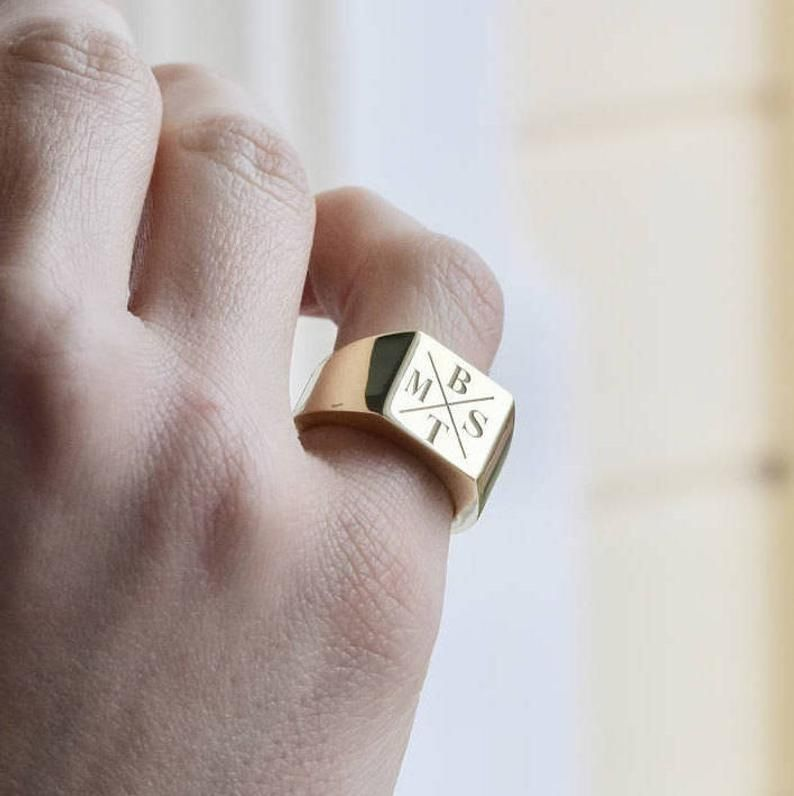 Family Signet Ring - Personalized Signet Ring - Si
