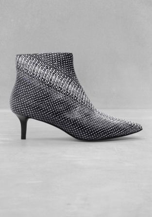 d05a94cd41aac & OTHER STORIES kitten heel and a pointy toe sleek ankle boots | A ...