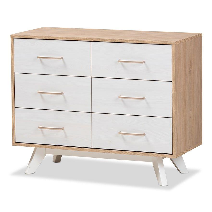 Best Baxton Studio Mid Century Two Tone 6 Drawer Dresser White 400 x 300