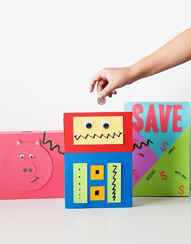 Spardose Aus Leeren Papier Verpackungen Mit Kindern Basteln Diy Sparschwein Spardose Basteln Spardose Kinder
