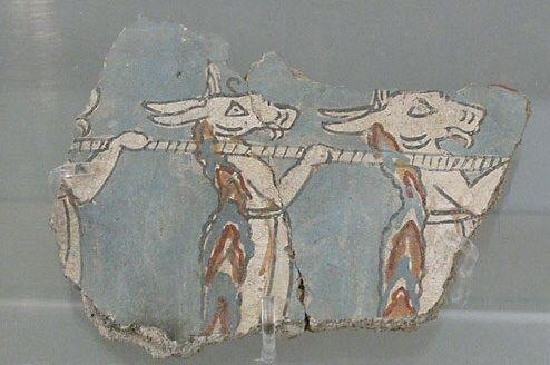 Affresco raffigurante tre donne con teste d'asino, ca 1300 a.C., civiltà micenea (periodo tardo). Atene, Museo archeologico nazionale