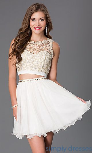 e9d4cea3770 Shop two-piece short ivory-white Sequin Hearts lace dresses at Simply  Dresses. Short party dresses with lacy crop tops for prom or semi-formals.