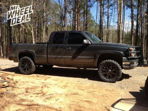 Nitto Mud Tires And Black Rims 20x9 Fuel Maverick Wheels With 33x12 50x20 Nitto Mud Grappler Tires 2003 Chevy Silverado Chevy Silverado Chevy Trucks