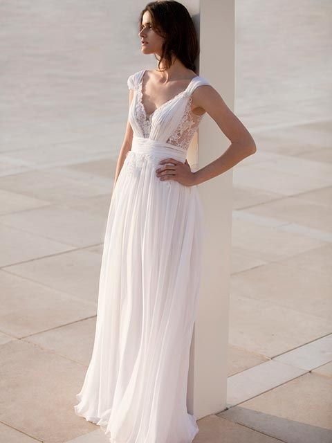 vestido de novia corte imperio escote profundo en v tirantes gruesos