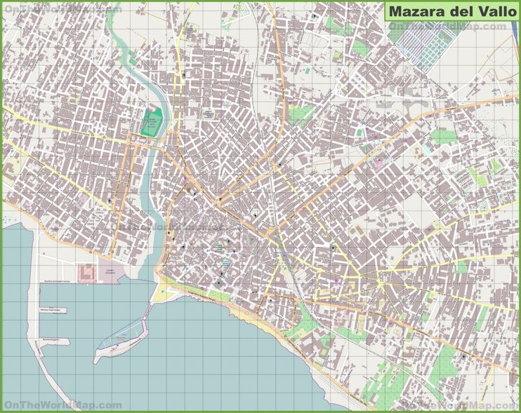 Large detailed map of Mazara del Vallo Mazara del Vallo