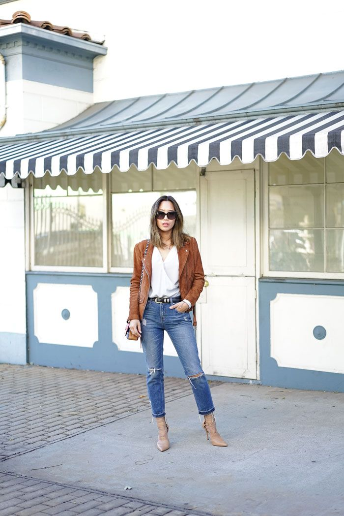 3caa8b04987 aimee song from song of style wears veda suede jacket and ripped jeans
