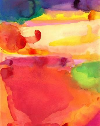 Reason for Hope, Watercolor Painting, original art abstract landscape emotion color red green orange yellow via Etsy