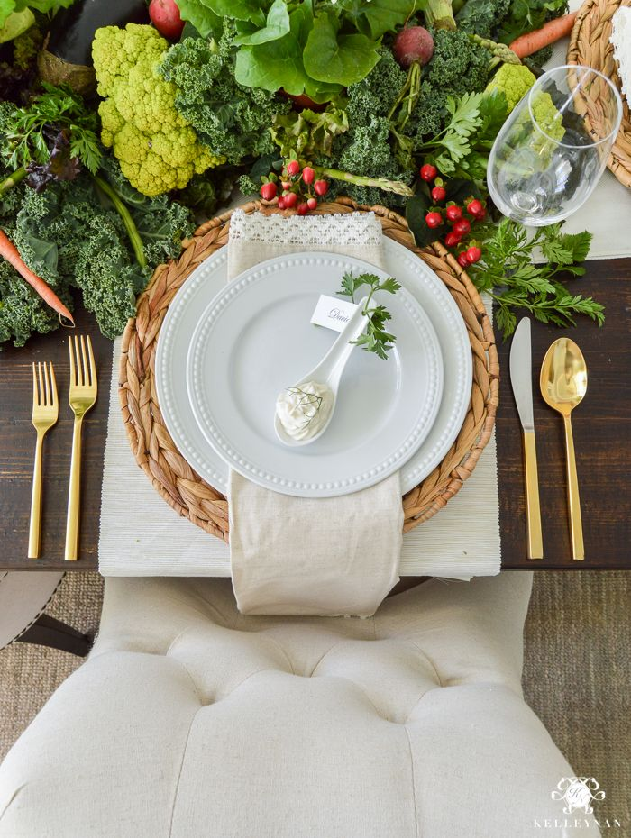 Vegetable Easter Table - place setting with Pottery Barn gold ...