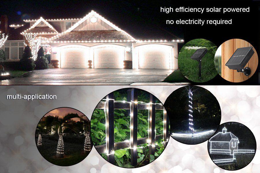 Amazon Com Led Rope Lights Lte Solar Powed 100 Led Diy Lights