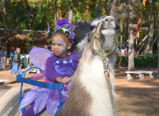 A special ride on Llama...doesn't appear to be too sure that this was a good idea!