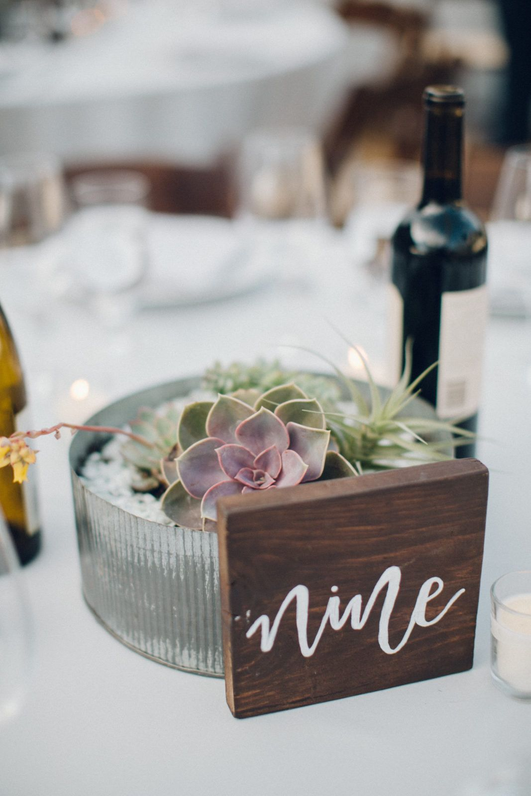 A Desert Wedding In Ojai At Red Tail Ranch Vintage Bride And Groom Succulent Centerpiece With Wooden Table Number