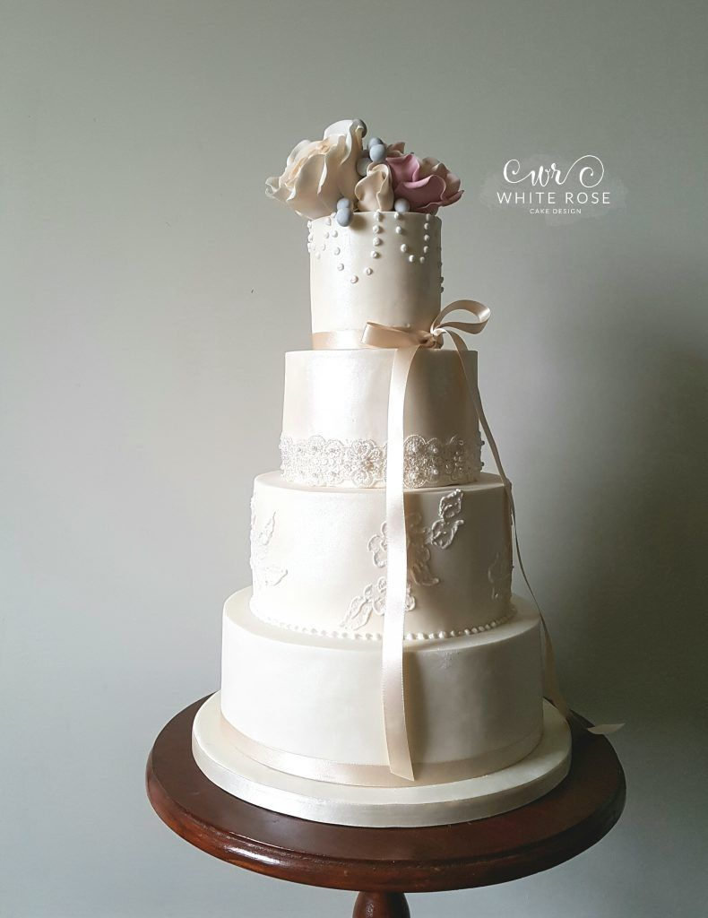 Pearls and Roses Wedding Cake – A New Design for White Rose Cake ...