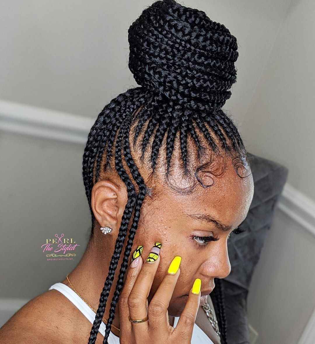 Master Braider On Instagram The Small Feed In Bun Double Design Braided Hairstyles Natural Hair Styles Hair Styles