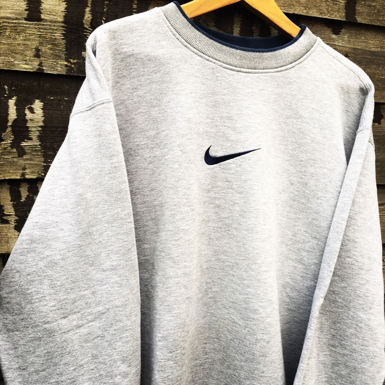 Retro Nike grey sweatshirt   size XL (fits L-XL)   condition 9 10   Nike  tick on middle of jumper!   free postage  nike  jumper  vintage  plain dbd33e129