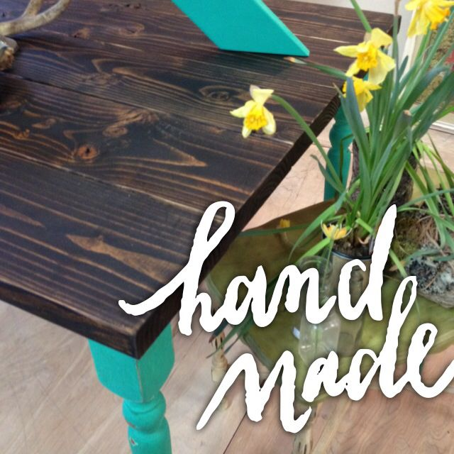 Custom made table painted with our Funky Junk Sisters paint! Color: Blast from the Past Farm table, repurposed wood, junk shoppe, turquoise, painted furniture, vintage