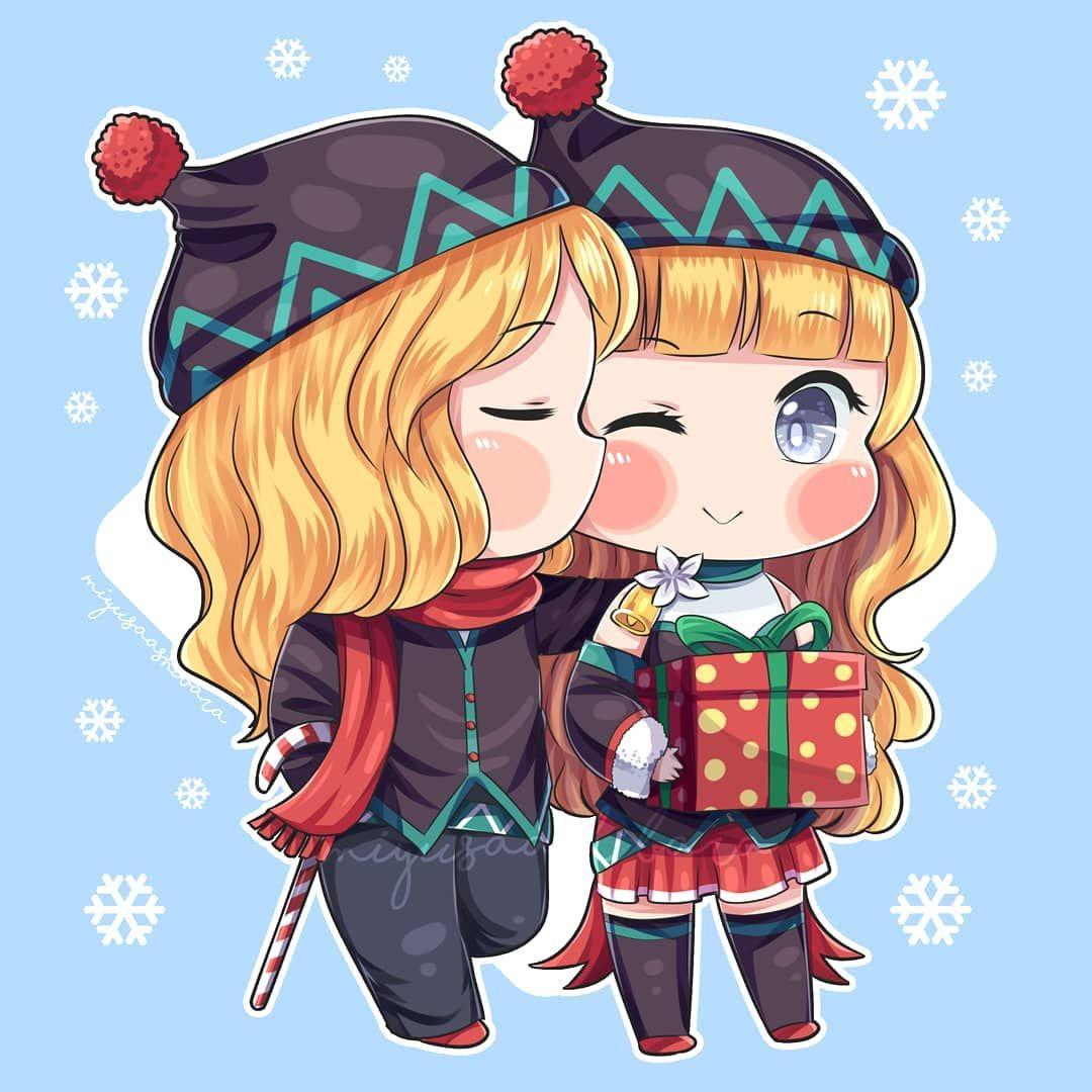 Another Christmas Mlbb Chibi Couple Lancelot X Odette Who S Love This Couple Me Ilustrasi Komik Gambar Karakter Animasi