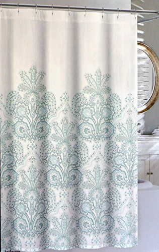 Exceptional Nicole Miller Fabric Shower Curtain    ArabesqueAqua / Blue Floral  Medallion Pattern With Light Gray