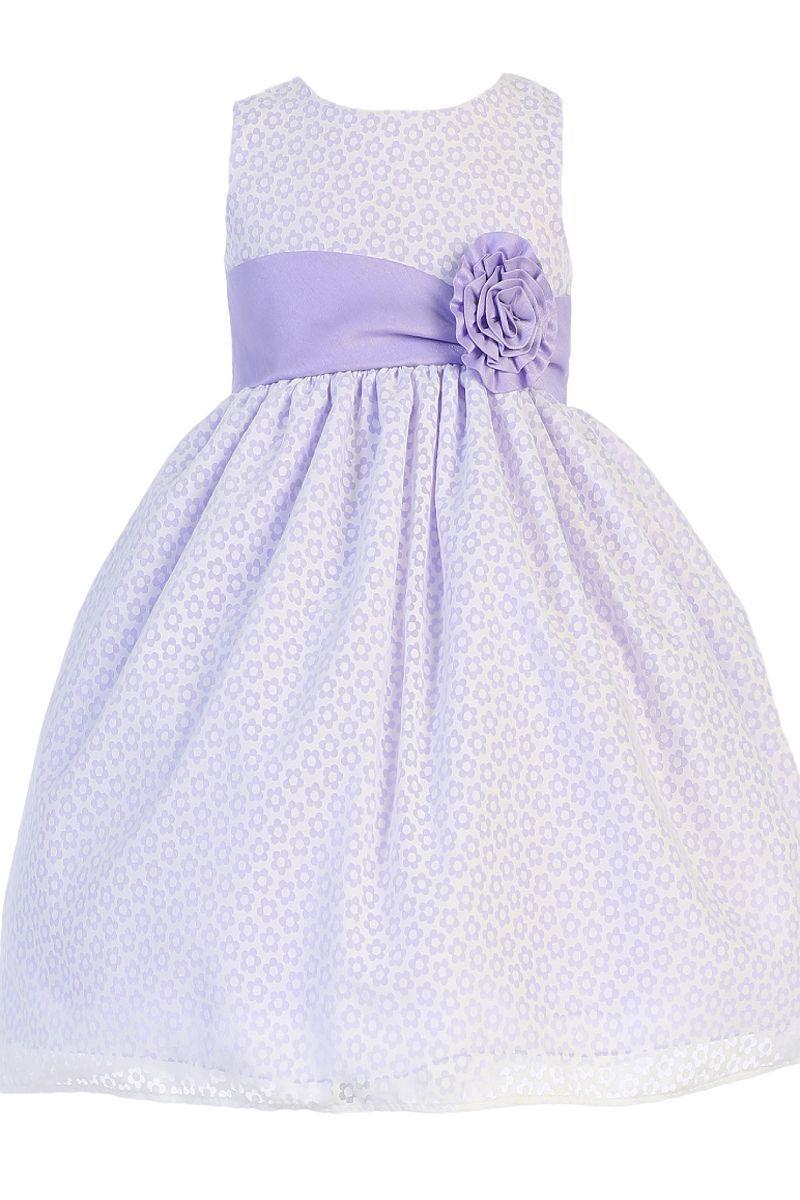 747e6c0ce1dd Lilac Shantung w Floral Burnout Cotton Overlay Dress Girls 3M-7 ...