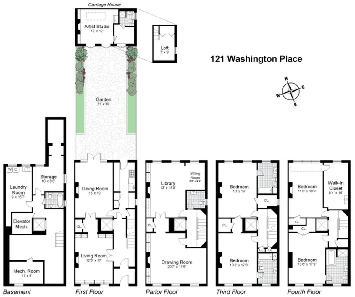 121 Washington Place In West Village Manhattan Streeteasy Town House Floor Plan West Village Apartment New York Apartments