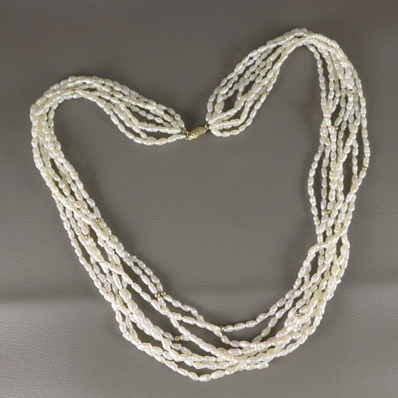 3061e0b5fdf0c Rice Pearl Necklace, Vintage 14K Gold 8 Strand Rice Pearl Necklace ...