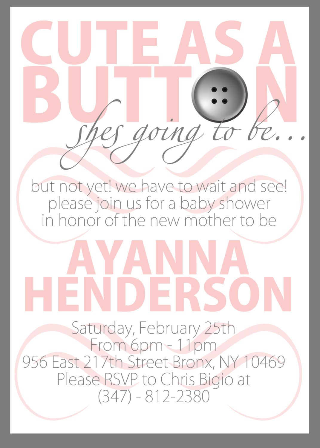 Cute As A Button PRINTABLE Baby Shower Invitation. $30.00, Via Etsy.