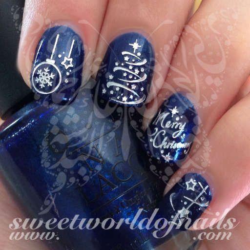 Christmas Nail Art Silver Merry Christmas Tree Stars Lights Ornaments Nail Water Decals Christmas Nail Designs Christmas Nail Art Christmas Nails