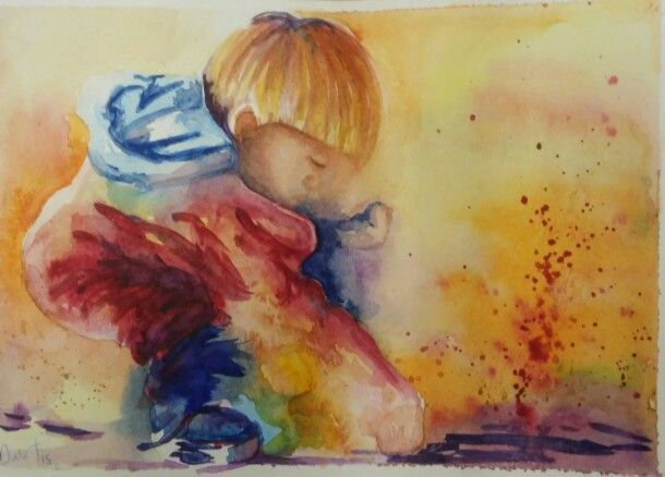 Watercolour boy on the beach  Dale Tyndall  June 2015  (reference  J Haines)