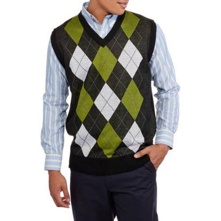 Ten West Mens V Neck Argyle Sweater Vest Size Medium Blue
