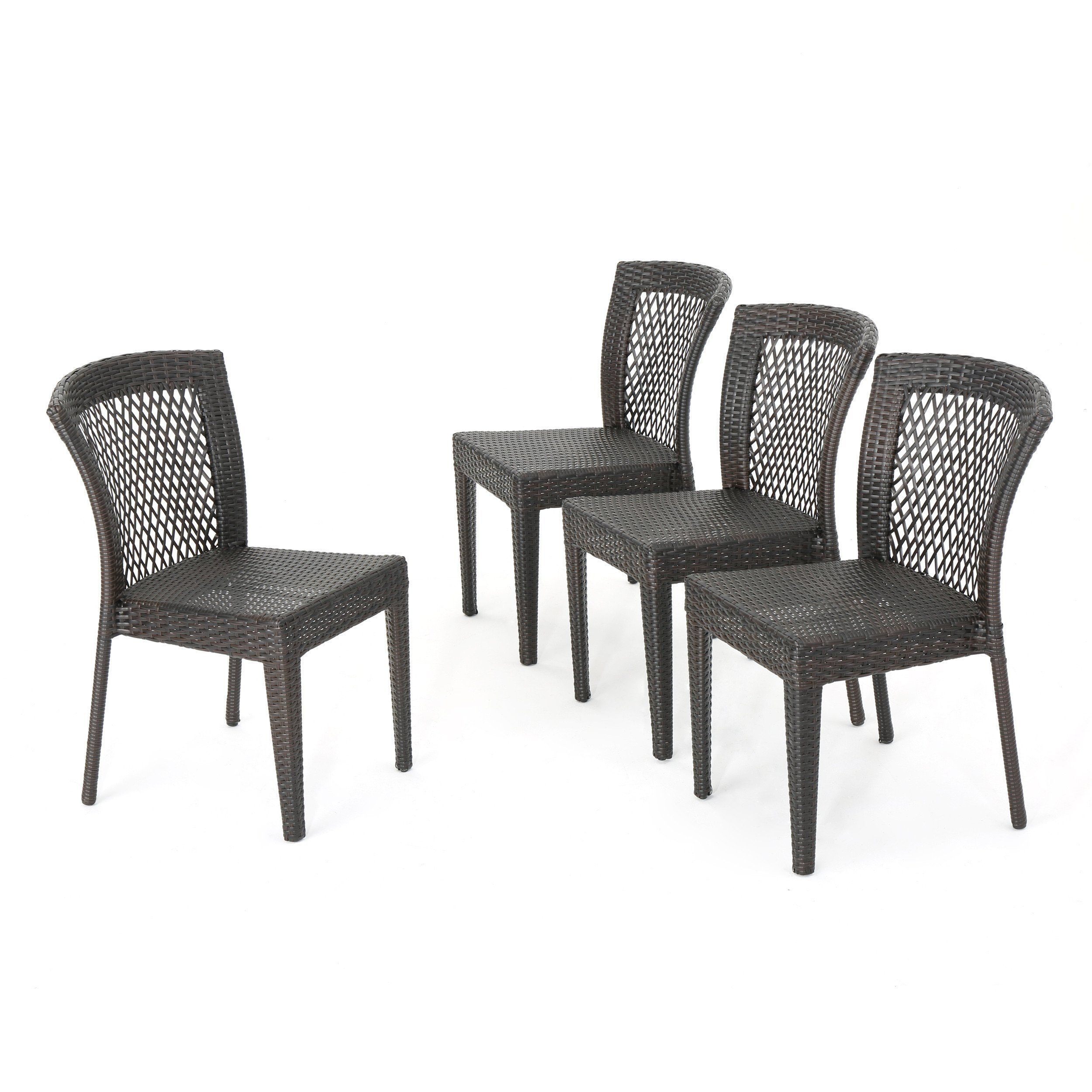 Chatham Outdoor Multibrown Wicker Stacking Dining Chairs Set Of Captivating Dining Room Chair Set Of 4 Design Ideas