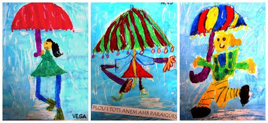 La pluie et tous arrivent avec le parapluie site Bri-coco de lolo à découvrir....
