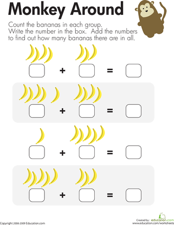 Monkey Math: Add the Bananas | Theme- Continents South America ...
