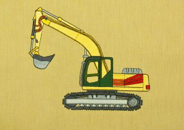Schaufelbagger Stickdesign auf www.gabrielles-embroidery.com