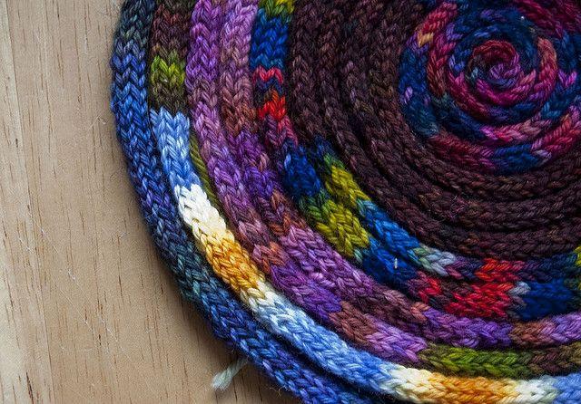 I-cord rug | French knitting, Spool knitting, Knit rug