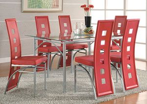 Table W 6 Red & Silver Dining Chairs  The Dining Room Mesmerizing Dining Room Chairs Red Review