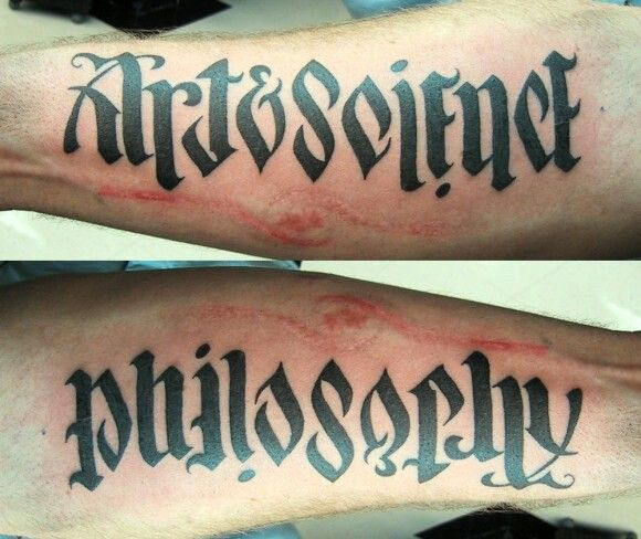 Philosophy Art Science Tattoo Awesome Ambigram Tattoo Clever Tattoos Philosophy Tattoos