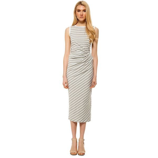 Michael Stars Casual Midi Dress ($138) ❤ liked on Polyvore featuring dresses, heather grey, sleeveless midi dress, ruched midi dress, striped dress, ruched dress and cotton dress