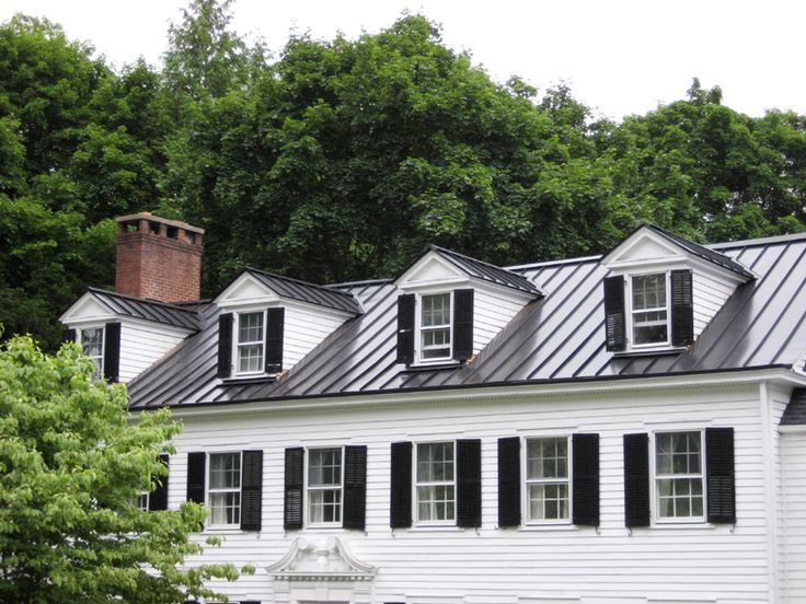 Black Metal Roof On Gray House Google Search Metal Roof Houses Black Metal Roof Standing Seam Metal Roof