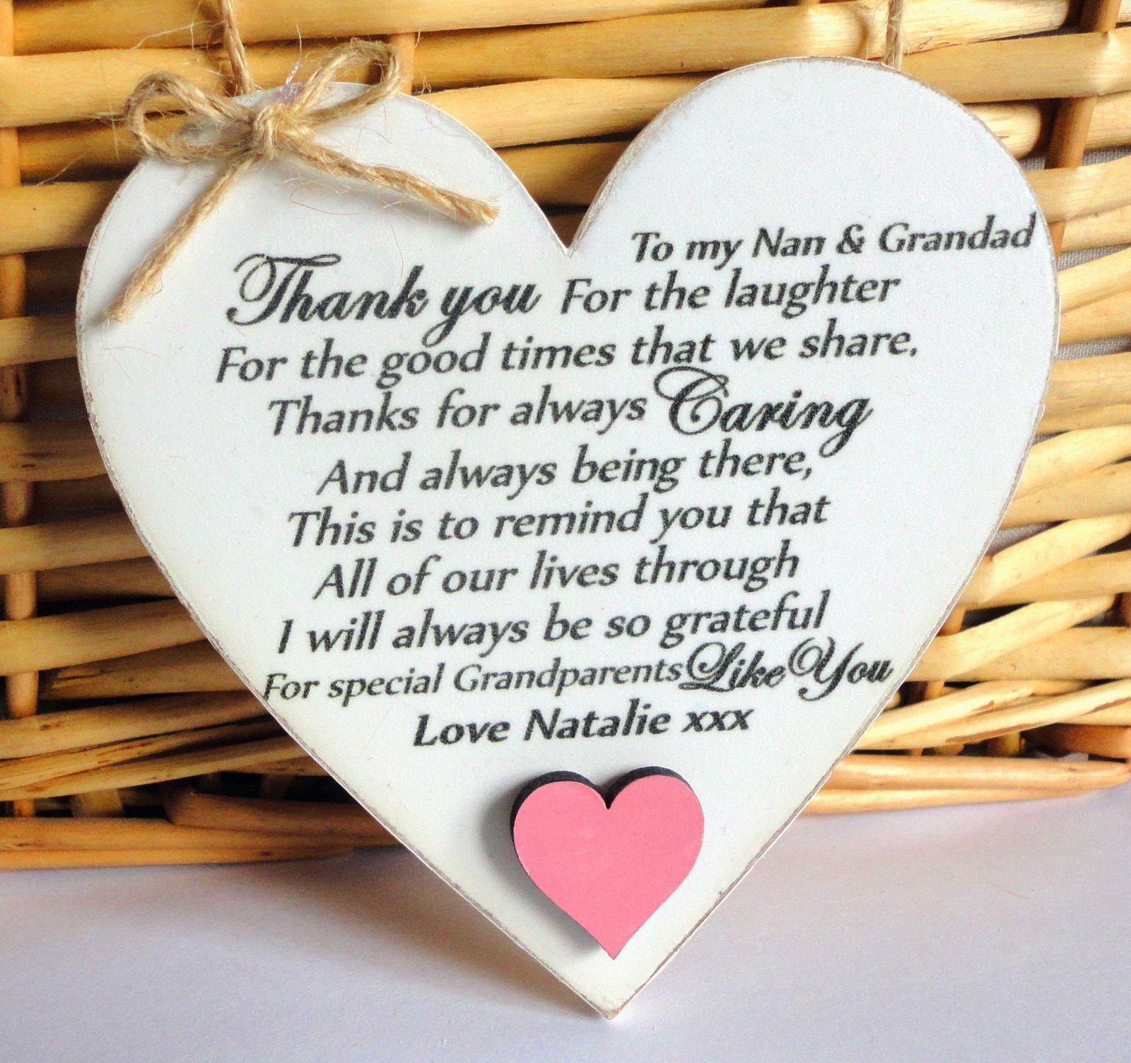 Details About Thank You GRANDPARENTS Plaque NAN GRANDAD