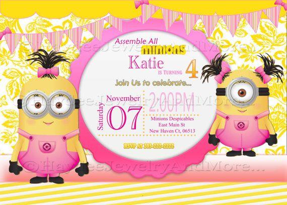 Minions Girls Birthday Card Invitation Tarjetas De Cumpleanos Para Ninos Fiesta De Cumpleanos Minion Invitaciones Para Fiesta Minions