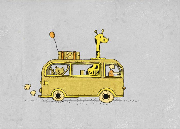 Cat and giraffe bus