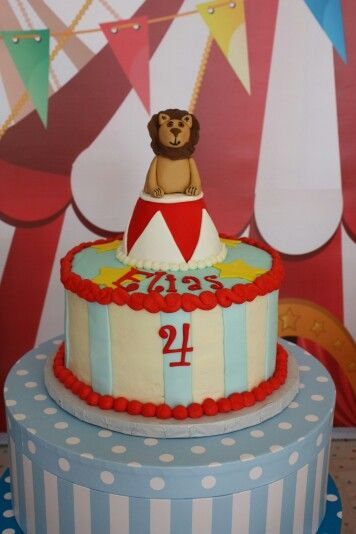 Circus carnival birthday party cake Lion Circus party for the