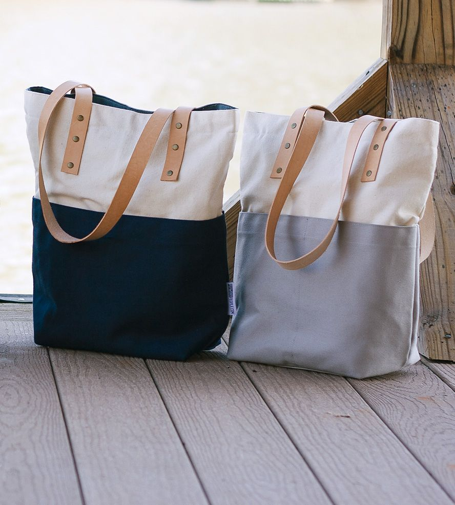Signature Two Tone Canvas & Leather Tote Bag | Activities, Two ...