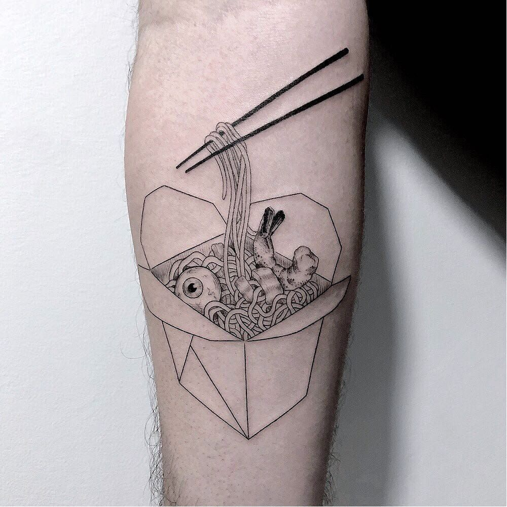 9c6541f2d Take out tattoo by Marla Moon #MarlaMoon #foodtattoos #blackwork #linework  #fineline #chopsticks #takeout #Chinesefood #noodles #eyeball #shrimp  #darkart # ...