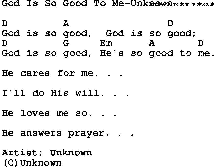 Gospel Song: God Is So Good To Me-Unknown, lyrics and chords ...