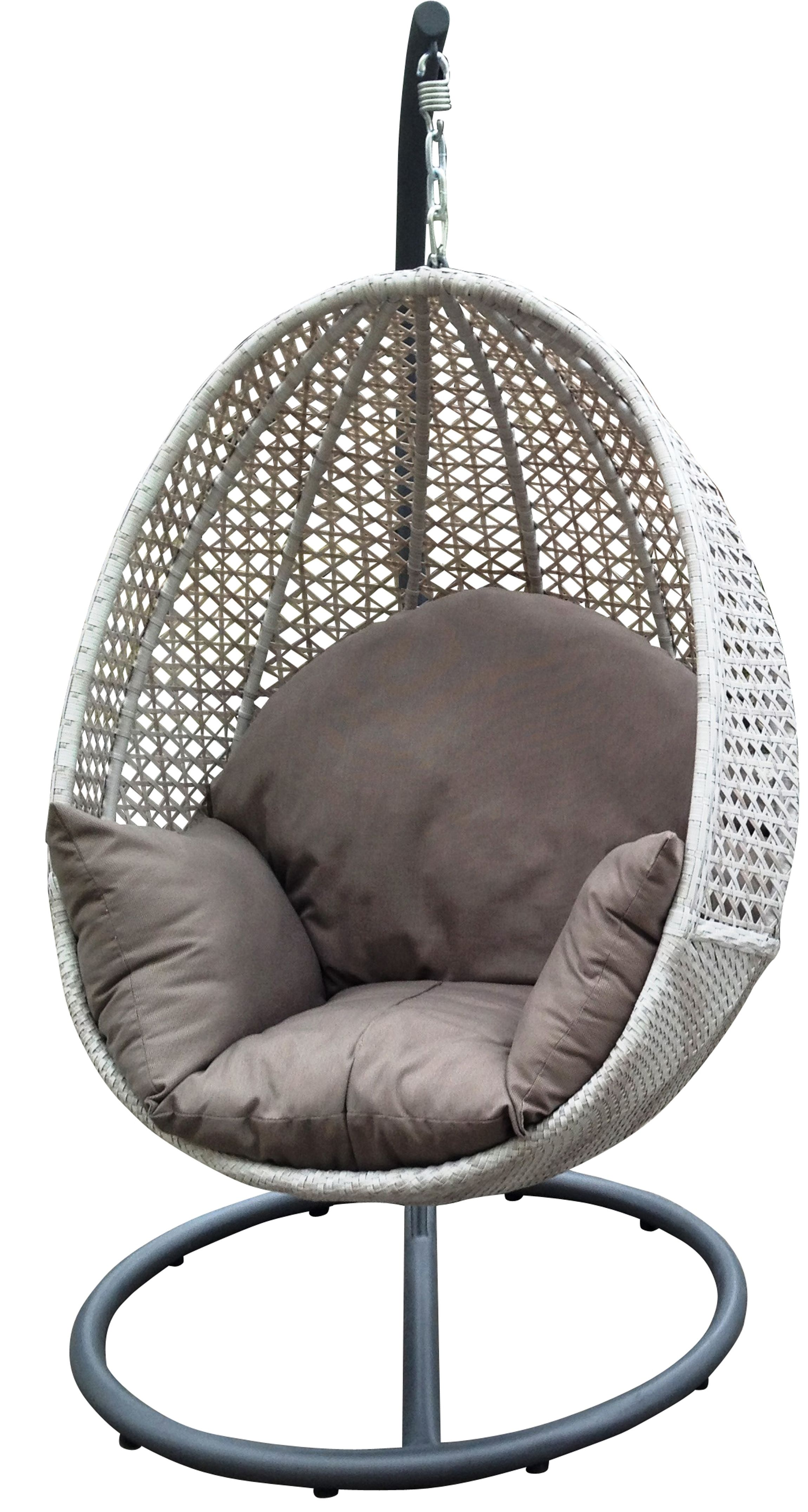 Outdoor hanging egg chair Available at Drovers Inside