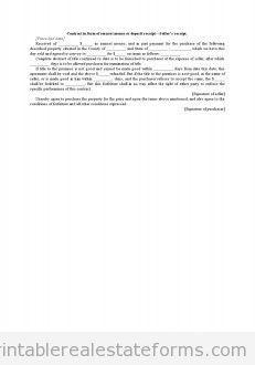 Free Contract in Form of Earnest Money or Deposit Receipt-Seller ...