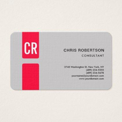 Minimalist Modern Monogrammed Linen Paper Red Grey Business Card