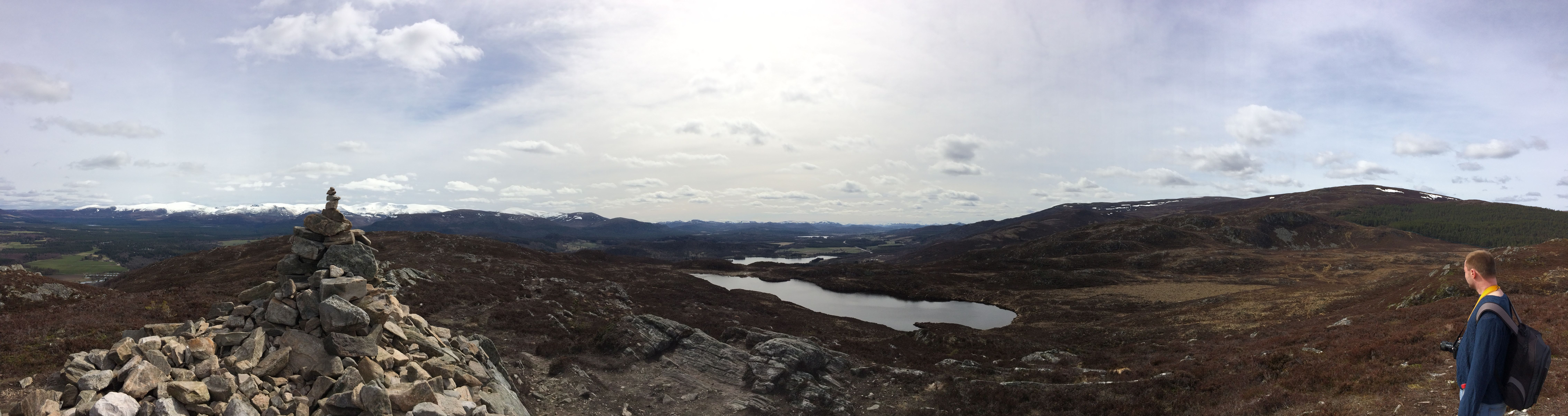 Panoramic view from the top of Craigellachie Nature Reserve, Aviemore, Scotland.