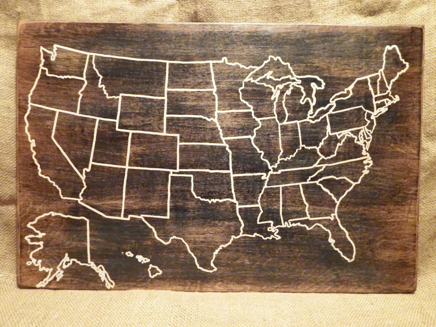 Travel Map US Wood Map